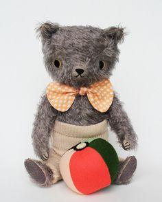hand dyed gray mohair bear