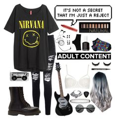 Untitled #2 by whoochu on Polyvore featuring polyvore, fashion, style, H&M, Glamorous, Topshop, Forever 21, D&G, Dr. Martens, VidaKush, Zero Gravity, tarte, Essie, Grado, tumblr, nirvana, grunge, PunkRock and 90sgrunge
