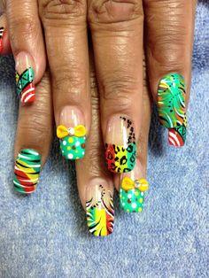 So pretty and with nail art Nail Art Blog, 3d Nail Art, Nail Arts, Get Nails, Hair And Nails, Jamaica Nails, Rasta Nails, Flag Nails, Edgy Nail Art