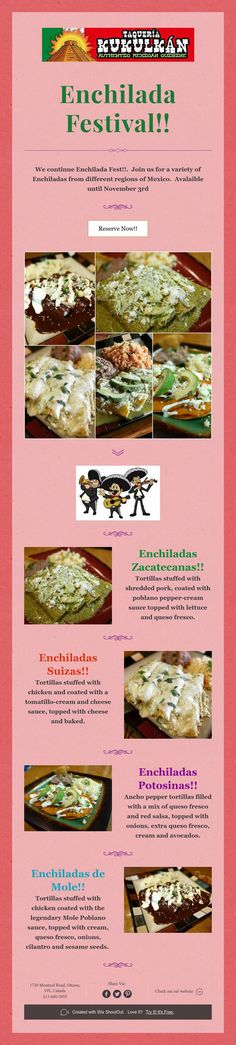 We continue Enchilada Fest! Join us for a variety of Enchiladas from different regions of Mexico. Avalaible until November Mole, Enchiladas Potosinas, Events, Food Cakes, Happenings, Mole Sauce