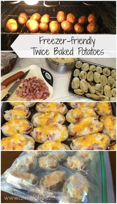 Make Ahead Freezer Meals Recipes for Your Busy Family! Freezer Friendly Twice Baked Potatoes Recipe via A Time to Freeze Make Ahead Freezer Meals, Freezer Cooking, Easy Meals, Meals That Freeze Well, Microwave Freezer Meals, Meal Prep Freezer, Meals To Freeze, Freezer Soups, Freezer Meal Party