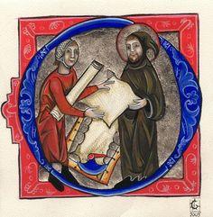 D 'après une enluminure du Manuscrit de Hambourg. Vers 1233. Parchemin de chèvre. Palladium sur gesso.