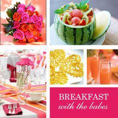 Brunch Party:  Fresh Belinis   Fresh Flower decor  Fresh Fruit display   Fresh bright colors