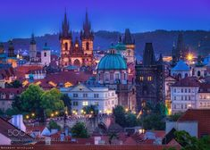 Blue hour: Prague and the towers by robschueller Places To Travel, Places To Visit, Plitvice Lakes National Park, Prague Czech Republic, Blue Hour, City Architecture, City Lights, Like4like, Beautiful Pictures