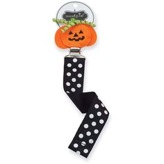 Mud Pie Halloween Pacifier Clips, Pumpkin (Discontinued by... ($12) ❤ liked on Polyvore featuring home, home decor, holiday decorations, pumpkin home decor and halloween home decor