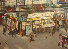 Waterloo Station (detail) by Terence Cuneo 1967 ( Train Posters, Railway Posters, London Painting, Waterloo Station, Nostalgic Art, National Railway Museum, Train Art, London Art, British History