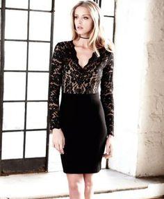 Karen Kane Becca Lace-Top Sheath Dress - Black XL