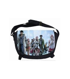 Final Fantasy: XIII Shoulder Bag - l'Cie Group. This is a vinyl canvas shoulder bag featuring the main characters from the latest Final Fantasy XIII game series! Featured are Snow, Vanille, Fang, Lightening, Sazh, Hope, Serah! This shoulder bag is black and has 3 large zipper pockets. The pockets are about 15-inches wide, and 9-inches deep. The bag has one adjustable shoulder strap. The flap cover has two clasps to secure shut. The bag is bright and colorful to carry a few everyday items....