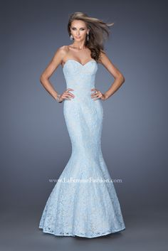Long Indigo And Nude Strapless Beaded Mermaid Evening Gown | Blue ...