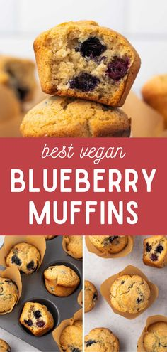 The best ever vegan blueberry muffins! Perfectly sweet and spiced and made in less than 40 minutes. Enjoy for breakfast with some dairy-free butter or peanut butter. Egg-free. Best Vegan Recipes, Vegetarian Recipes Easy, Vegan Breakfast Recipes, Best Breakfast, Vegan Blueberry Muffins, Blue Berry Muffins, Homemade Muffins, Vegan Kitchen, Egg Free