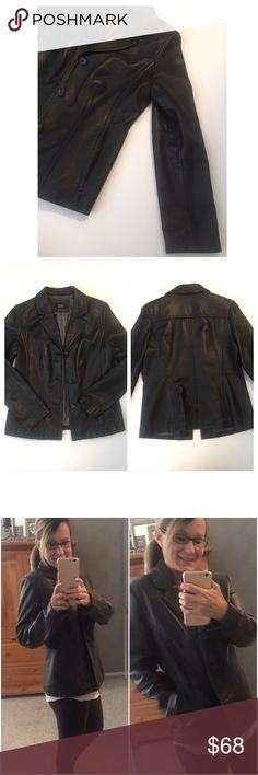 Black • Genuine • Leather • Coat Beautiful genuine black leather coat with grey satin lining, has two outside pockets.   🔶Brand • Sonoma.  🔶Size • Medium.  🔶Fabric  • 100% Leather • Lining, 50% Nylon, 50% Polyester.  🔶Condition • Coat has been worn with much care, a little wear as shown in the last picture along with a tiny knick on one sleeve that isn't noticeable when worn. This beautiful coat has a lot of life left in it.   🔶Measurements upon request. Sonoma Jackets & Coats