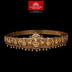 22 Carat gold antique finish Ashta Lakshmi nakshi vaddanam studded with rubies by Kameswari Jewellers. Antique Jewellery Designs, Indian Jewellery Design, Antique Jewelry, Jewelry Design, Latest Jewellery, Waist Jewelry, Indian Jewelry Earrings, Gold Jewelry, Temple Jewellery