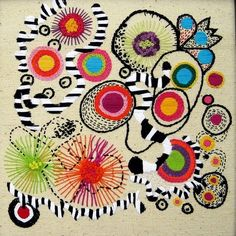 Colorful abstract embroidery.