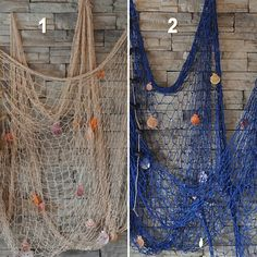 Decorative Nautical Fish Net With Shells Home Wall Party Decor Ornament Sn & Garden Seaside Beach, Beach Room, Nautical Bathroom Decor, Coastal Decor, Diy Bedroom Decor, Bedroom Ideas, Coastal Living, Fish Net Decor, Marine Gifts