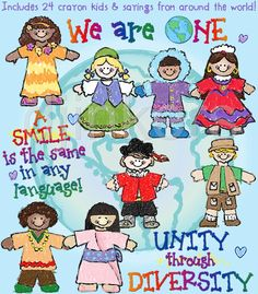 We are ONE!  A smile is the same in any language. :)  You'll love these kids around the world.  Collection includes country clip art, crayon clip art and more for  world studies!