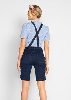Farmernadrág vállpántokkal • sötét denim • bonprix áruház Bermuda Shorts, Bikini, Skinny, Women, Style, Fashion, Bikini Swimsuit, Swag, Moda