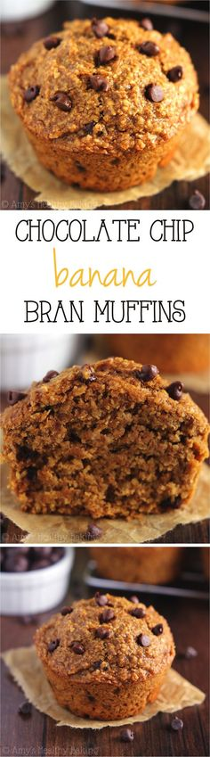 Chocolate Chip Banana Bran Muffins -- an easy, no-fuss recipe for the moistest bran muffins you'll ever eat! Full of chocolate & still really healthy!: