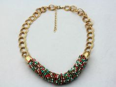 Colorful Beads Statement Necklace Gold Chain por JewelryFindings888