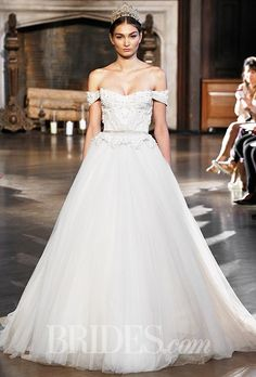 Style BR-15-20, off-the-shoulder lace tulle ballgown wedding dress with a sweetheart neckline, Inbal Dror