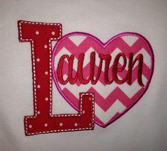Personalized Chevron Heart Valentine's Day Shirt by Bouffants, $22.00