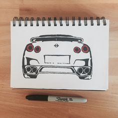 Nissan GTR. Sharpie Sketch. Jap Car. Marker Pen Drawing. Art. Sketchbook. Canvas.