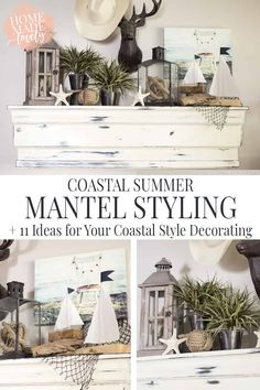 Our wall mantel is the first place to get hit with summer decor. And this year it's all about the coastal summer mantel. Plus 11 Ideas for your own coastal style decorating! #coastalstyle Summer Mantle Decor, Summer Decoration, Beach Mantle, Farmhouse Mantel, Coastal Farmhouse, Coastal Cottage, Farmhouse Design, Country Farmhouse, Coastal Living