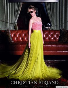 Mena Suvari for Christian Siriano Spring 2012. Don't really like the striped top with it, but my main obsession is the skirt!