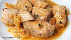 Una receta tradicional es este Atún Encebollado típico de la provincia de Cádiz. No hay nada como u buen atún de Barbate! Spanish Kitchen, Spanish Food, Tuna Steaks, Small Meals, Latin Food, Fish And Seafood, Tapas, Food And Drink, Vegetarian