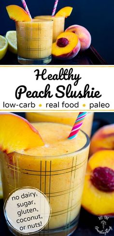 Make this healthy peach slushie for a quick and easy low-carb paleo and vegan snack or dessert. It's also a Trim Healthy Mama E recipe with no added sugar. Grain-free dairy-free nut-free and coconut-free too! Quick Healthy Snacks, Healthy Drinks, Healthy Eating, Eating Clean, Healthy Nutrition, Healthy Life, Nut Free, Grain Free, Dairy Free