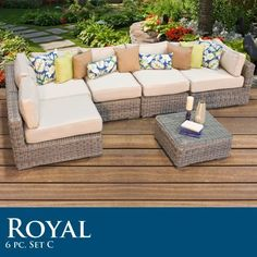 """Royal 6 Piece Outdoor Wicker Patio Set 06C by TK Classics. $2110.00. High quality round wicker in rich hues of vintage stone. Comes Standard with Sunbrella Cushions. High Density PE (polyethylene) recyclable wicker - NOT made with PVC which is toxic and non-recyclable. (2) Corner Sofa - 35"""" W x 35"""" D x 26"""" H (1) Coffee Table - 27"""" W x 27"""" D x 12"""" H (3) Armless Sofa - 27"""" W x 35"""" D x 26"""" H Throw Pillows **NOT INCLUDED**- Call for available options. Ultra Deep seating modular..."""