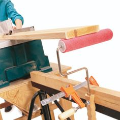 DIY Tip of the Day: Portable roller stand. Ripping a long board on a small portable table saw can be dangerous without extra support. If you don't have a helper, clamp a short-nap paint roller to a sawhorse as a roller stand. Tighten the clamp firmly to prevent slipping. As you move around your work area, carry the sawhorse along. Now you'll always have support to safely cut long boards. - William A. Goldbach