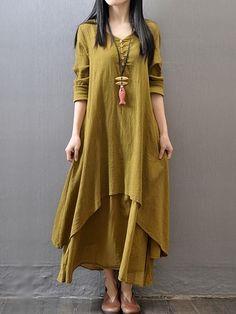 Classical Round Neck Falbala Printed Maxi-dresses   fashionmia.com