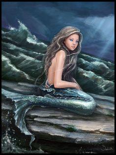 Ocean Child by Sephiroth-Art Fantasy Mermaids, Real Mermaids, Mermaids And Mermen, Magical Creatures, Fantasy Creatures, Sea Creatures, Mermaid Artwork, Mermaid Pictures, Merfolk