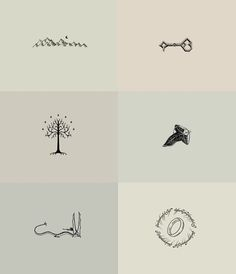 awesome Tiny Tattoo Idea - Tolkien minimalist drawings. REALLY want one or two of these on my body...