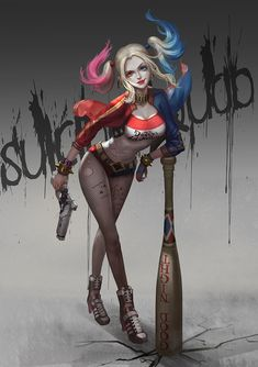 1girl armpit_holster baseball_bat batman_(series) belt blonde_hair choker copyright_name dc_comics dccu fishnets full_body gun harley_quinn heterochromia holster jacket lipstick multicolored_hair solo spiked_bracelet studded_belt suicide_squad twintails weapon