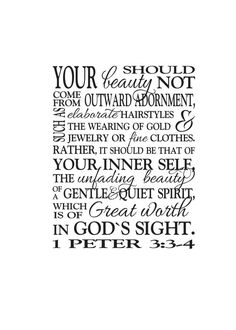 1 Peter 3:3-4 -Great worth in God's sight Teen Girl Scripture wall decal Bible Verse Wall Vinyl