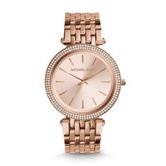 Michael Kors Women's Darci Rose Gold-Tone Watch Rose gold-tone stainless steel bracelet watch with glitz bezel featuring tonal dial and stick hour markers Bijoux Michael Kors, Michael Kors Schmuck, Michael Kors Watch, Bracelet Cuir, Bracelet Watch, Ladies Bracelet, Wood Bracelet, Michael Kors Designer, Rose Gold Watches