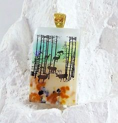 Woodland Deer Scenic Dichroic Glass Jewelry Pendant with Necklace and Giftbox