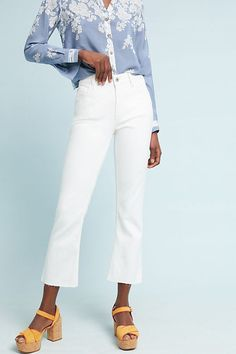 White bootcut jeans White Bootcut Jeans, High Rise Bootcut Jeans, Women's Jeans, Jeans Size, Resale Clothing, Online Clothing Boutiques, Blue And White Blouses, Blue Tops, Cropped Jeans Outfit