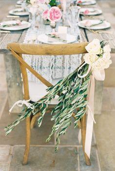 Olive branch stems, roses and soft pink ribbon: http://www.stylemepretty.com/little-black-book-blog/2014/10/31/intimate-sunstone-villa-wedding/ | Photography: Khanh Hogland - http://khanhhogland.com/