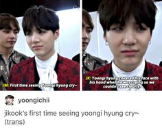 It really was a rare sight to see him in tears like that! Winner Kpop, Agust D, Bts Stuff, Jikook, Korea, Army, Fandoms, Shit Happens, Face