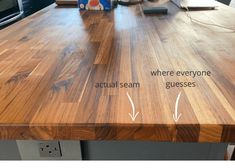Our step by step tutorial to create a custom DIY butcher block island top using prefabricated countertop pieces. Kitchen Island With Butcher Block Top, Butcher Block Countertops Kitchen, Butcher Block Table Tops, Diy Wood Countertops, Diy Kitchen Island, Butcher Block Sealer, Kitchen Ideas, Kitchen Rustic, Kitchen Reno