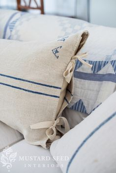 Twill ties on grain sack pillow case.