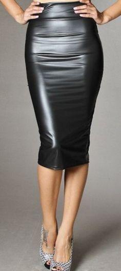 Skirts For Women – My WordPress Website Long Pencil Skirt, Pencil Skirt Outfits, Black Pencil Skirt Outfit, Pencil Skirts, Black Leather Skirts, Leather Dresses, Sexy Skirt, Dress Skirt, Pvc Skirt