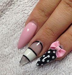 Pink black and white polka dot bow nails
