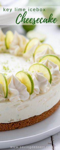 Key Lime Icebox Cheesecake - a terrific summer dessert with a light and creamy no-bake filling, a not-too-sweet tart and tangy flavor, and a perfectly crunchy graham cracker crust. Key Lime Desserts, Köstliche Desserts, Delicious Desserts, Light Summer Desserts, Lemon Desserts, Make Ahead Desserts, Best Dessert Recipes, Cheesecake Recipes, Key Lime Cheesecake