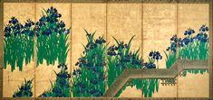 八橋図屏風 Irises at Yatsuhashi (Eight Bridges). 尾形光琳 Ogata Kōrin (Japanese, 1658–1716). Edo period, after 1709. One of a pair of Japanese folding screens; ink and color on gold leaf on paper. The Met.