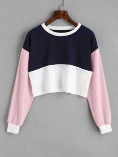 Buy Contrast Cropped Sweatshirt, sale ends soon. Crop Top Und Shorts, Crop Top Outfits, Cute Outfits, Crop Tops, Crop Top Et Short, Short Tops, Hoodie Sweatshirts, Cat Sweatshirt, Long Sleeve Tee Shirts