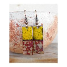 Copper Enamel Earrings by Karasisi on Etsy