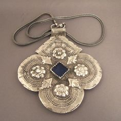 Moroccan silver & glass pendant
